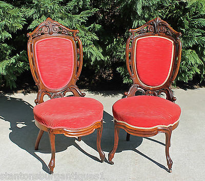 Pair Laminated Rosewood Victorian Parlor Chairs Attr. To George Henkels c1860