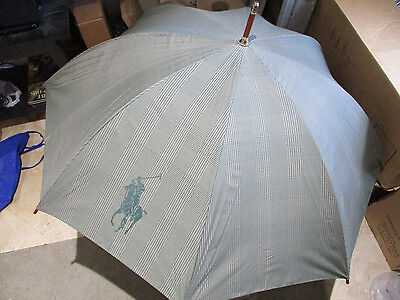 NEW VINTAGE Ralph Lauren Polo Umbrella Green Tartan Plaid Big POny Wood Handle