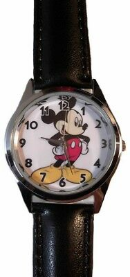 Disney's Mickey Mouse Black Leather Band Wrist Watch