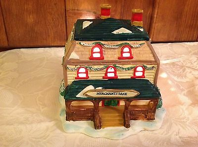 Christmas Traditions Lighted Village house Merchants Bank in box