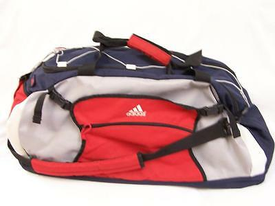 Adidas Duffel Bag Large Navy Gray Red Gym Travel Sport Athletic Nylon Zip bungee