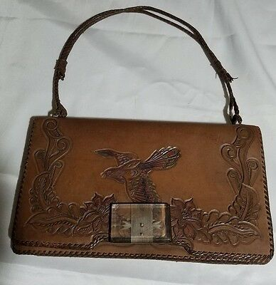 """Vintage Hand Tooled Leather Purse """"mother"""""""