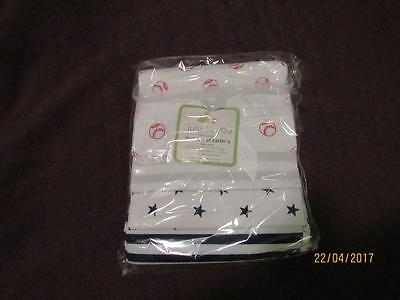 NEW Lot of 4 Flannel Just to You Receiving Blankets Baseball Stars Stripes