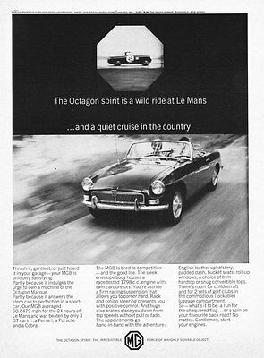 "1967 MG MGB Convertible photo ""The Octagon Spirit"" vintage promo print ad"