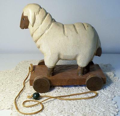Wood Folk Art Sheep Pull Toy with a Primitive Look ~ Excellent Condition!