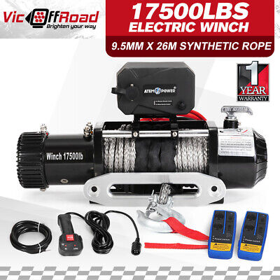 17500LBS Winch Wireless Synthetic Rope IP68 Waterproof 7938kg 12V Remote ATV 4WD