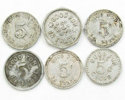 -Vintage & Antique- Aluminum Good for 5c in Trade Token Variety Lot, 6 Tokens