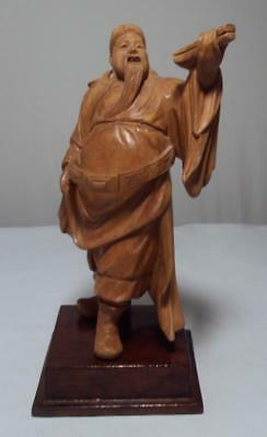 Chinese Cultural Revolution Hand Carved Wood Figure Merchant?