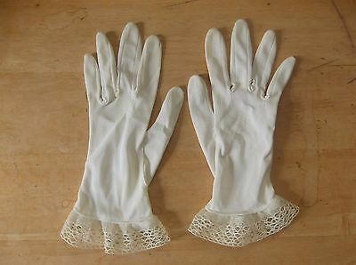 Vintage Pair of Ladies White Nylon Gloves with Lace and Machine Crocheted Edge