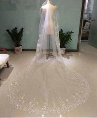 3M Lace Edge Bride veil rhinestone Cathedral Wedding +Comb White Ivory In Stock