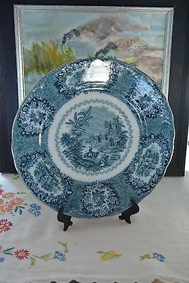 Antique Oriental Middle Eastern Decor Blue Trans Wharf Pottery Plate