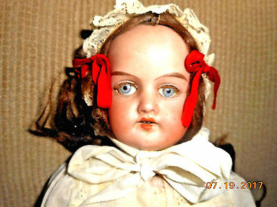Antique Signed Porcelain Bisque Doll Real Hair Kid Torso Bisque Arms Legs