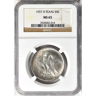 1937-D Texas Silver Half Dollar Commemorative MS65 NGC ... 6,605 Minted