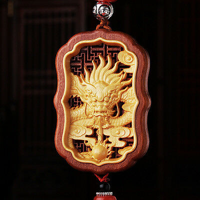Hollow-cut inlay Wood Carving Chinese Dragon Geomancy Sculpture Car Pendant