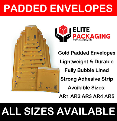 Arofol Genuine Gold Bubble Padded Envelopes Mailers Bags Fragile All Sizes Lite