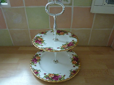 Vintage Royal Albert Old Country Roses Two Tier Cake Stand Factory Produced