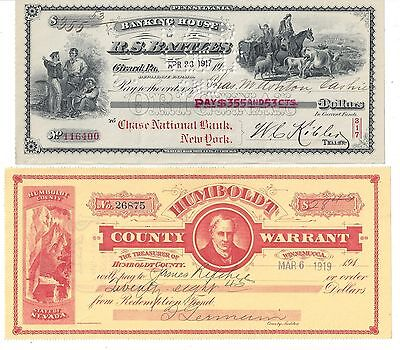 4 Vignetted Bank Checks/Drafts 1871-1919