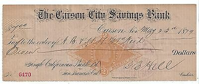 1879 Carson Nevada Bank Draft RN-G1