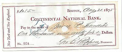 1875 Massachusetts Bank Check RN-M2