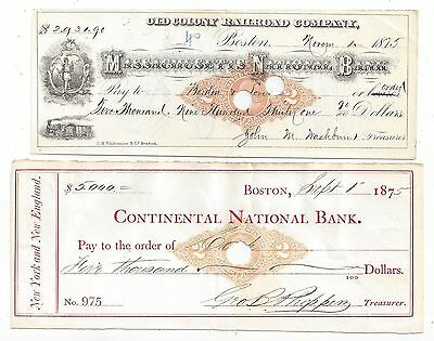 2 Massachusetts Bank Checks 1875 RN-M2