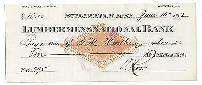 1882 Stillwater Minnesota Bank Check RN-G1