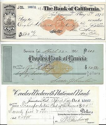 3 California Bank Checks 1873-1904