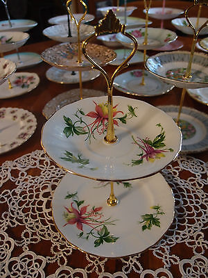 Vintage Royal Adderley Fuschia Cake biscuit trinket high tea stand 2 tier
