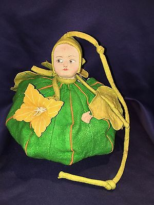 Unusual Antique Felt Pond Lily Bag Doll Molded Fabric Face