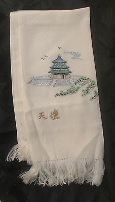 Vintage Chinese Double Sided Cream Silk Scarf with Hand Embroidered Pagoda Scene