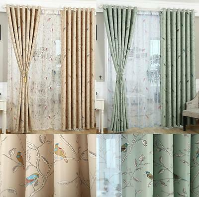 Oriental Bird Vintage Shabby Chic Eyelet / Tape Top Blackout Lined Curtains