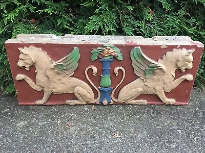 Large Antique Salvaged Encaustic Clay Tile-Dragon/Gargoyle Recovered Hotel 1907
