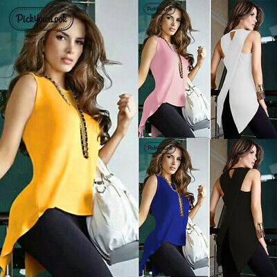 Plus Size Women Sleeveless Shirt Split Vest Tank Tops Casual Irregular Blouse