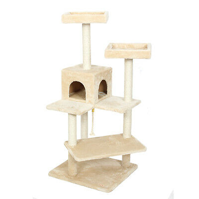 "57"" Luxury Cat Tree Tower Condo Scratcher Furniture Kitten House Cat Toy Beige"