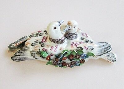 Antique Hand-Painted French Porcelain Lidded Box Billing Doves Chelsea Porcelain