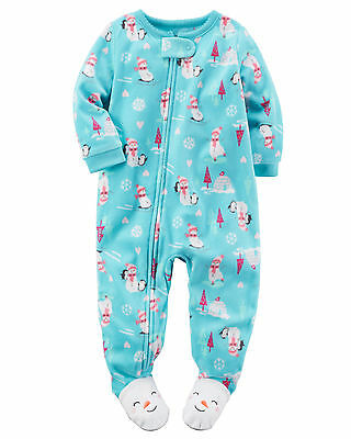 NWT ☀FOOTED FLEECE☀ CARTERS Girls Pajamas SNOWMAN New YOU PICK 18m  24m 3T 4T 5T