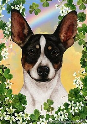 Garden Indoor/Outdoor Clover Flag - Tri Rat Terrier 313241