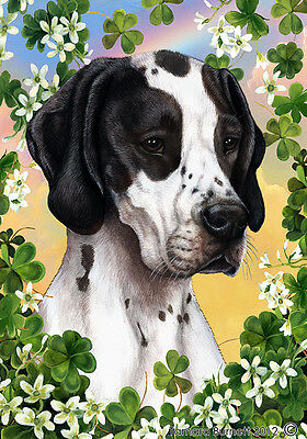Garden Indoor/Outdoor Clover Flag -Black & White Pointer 314651