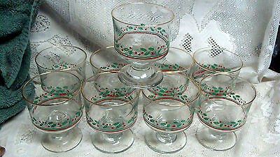 (9)  1986 Arby's  Libbey Holly Red Berries Christmas Swirl Stem Sherberts