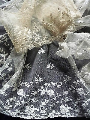 Rare Antique French Long and Large  Net Lace ca. 1850s