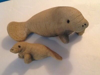 Manatee Sculpture Sand Sea Cow Lot Of Two Marked