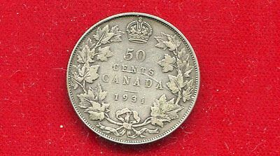 """Canada 1931 King George V 50 Cents """"key Date"""" Low Mintage Very Good +"""