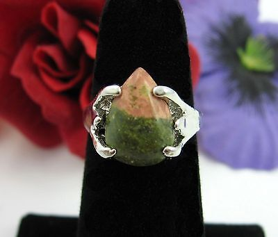 UNAKITE PINK & GREEN Natural STONE Triangle RING Vintage Silvertone Size 5.25