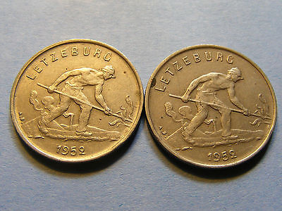 2 x 1952 Luxembourg 1 Frang Coins - 21 mm Dia