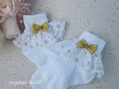 Baby Girls White Gold Christening Party Frilly Socks  ** HANDMADE ** 4 Sizes