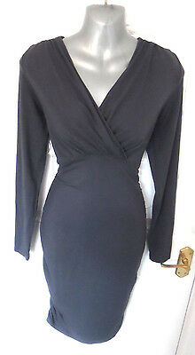 ❤ MAMALICIOUS Maternity Gorgeous Size 8 (S) Grey Ruched Sides Stretchy Dress