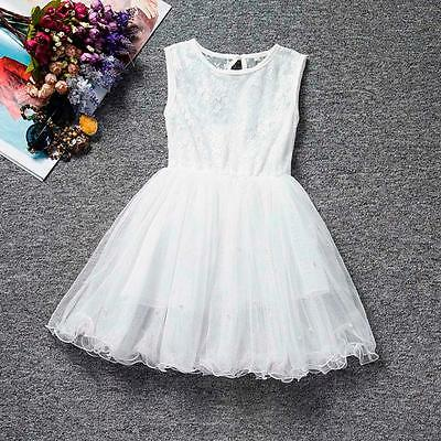 Princess Baby Girl Party/Wedding Dress Flower Sleeveless Lace Skirt Gown 120 US