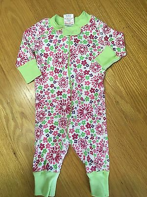 Hanna Andersson Green/Pink Floral Print Sleeper Pajama Girls size 50/0-6 Months
