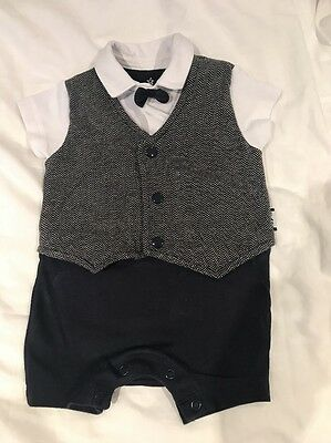 Next Current Season - Boys Romper - 0-3 Months - Bow Tie - Cute Outfit