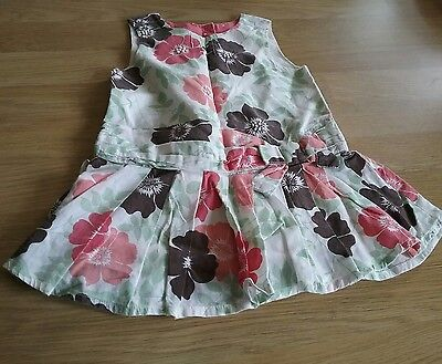 pretty baby girls monsoon summer dress coral green white floral print 0-3 months