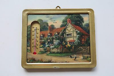 Forest Lake State Bank,advertising working old farm or cottage thermometer
